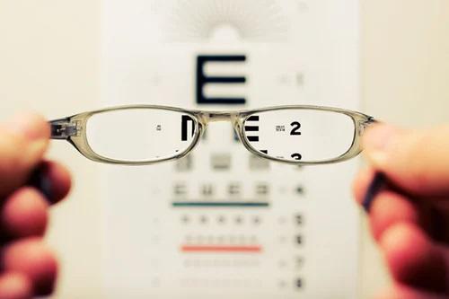 testtekst gezien door bril
